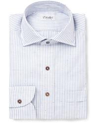 Мужская голубая классическая рубашка в вертикальную полоску от Drakes