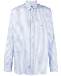 Мужская голубая классическая рубашка в вертикальную полоску от Etro
