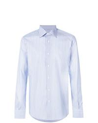 Мужская голубая классическая рубашка в вертикальную полоску от Fashion Clinic Timeless