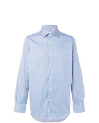 Мужская голубая классическая рубашка в вертикальную полоску от Finamore 1925 Napoli