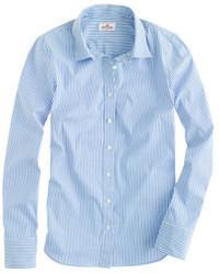 Женская голубая классическая рубашка в вертикальную полоску от J.Crew