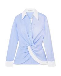 Женская голубая классическая рубашка в вертикальную полоску от JW Anderson