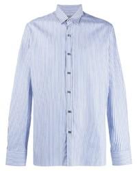 Мужская голубая классическая рубашка в вертикальную полоску от Lanvin