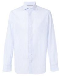 Мужская голубая классическая рубашка в вертикальную полоску от Loro Piana