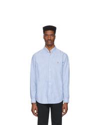 Мужская голубая классическая рубашка в вертикальную полоску от Polo Ralph Lauren