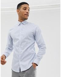 Мужская голубая классическая рубашка в вертикальную полоску от Selected Homme