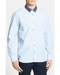 Голубая классическая рубашка в горошек