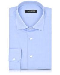 Голубая классическая рубашка в клетку