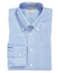 Голубая классическая рубашка в мелкую клетку
