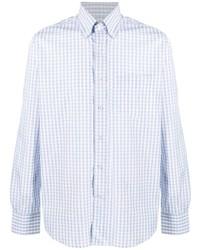 Мужская голубая классическая рубашка в мелкую клетку от Canali