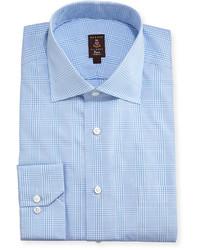 Голубая классическая рубашка в шотландскую клетку