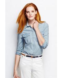 Голубая классическая рубашка из шамбре