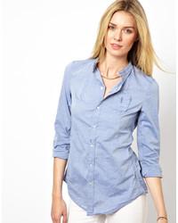 Женская голубая классическая рубашка из шамбре