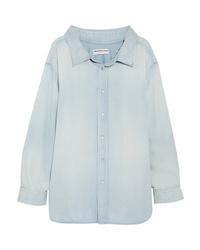 Женская голубая классическая рубашка из шамбре от Balenciaga