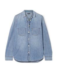 Женская голубая классическая рубашка из шамбре от J.Crew