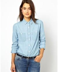 Женская голубая классическая рубашка из шамбре от Jack Wills
