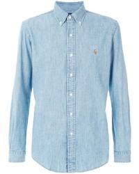 Мужская голубая классическая рубашка из шамбре от Ralph Lauren