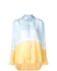 Голубая классическая рубашка с принтом тай-дай