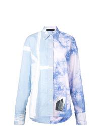 Женская голубая классическая рубашка с принтом тай-дай от Proenza Schouler