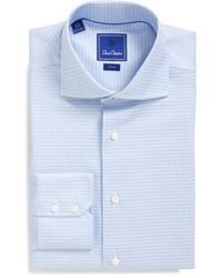 """Голубая классическая рубашка с рисунком """"гусиные лапки"""""""