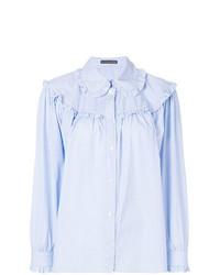 Женская голубая классическая рубашка с рюшами от Alexa Chung