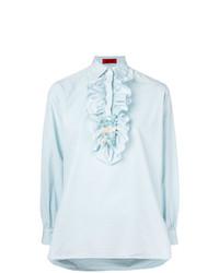 Женская голубая классическая рубашка с рюшами от The Gigi