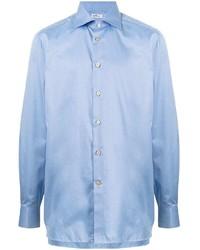 Мужская голубая классическая рубашка от Kiton