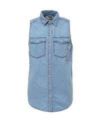 Женская голубая классическая рубашка от Topshop