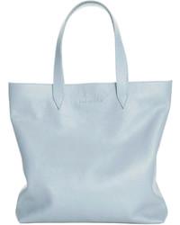 Голубая кожаная большая сумка