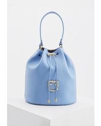 Голубая кожаная сумка-мешок от Furla