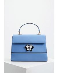 Голубая кожаная сумка-саквояж от Furla