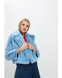Голубая короткая шуба от Diane von Furstenberg