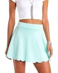 Голубая короткая юбка-солнце