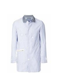 Голубая куртка-рубашка в вертикальную полоску