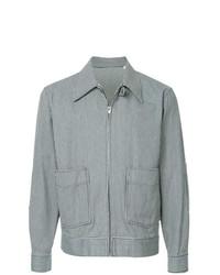 Мужская голубая куртка-рубашка в вертикальную полоску от Kent & Curwen