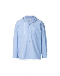 Мужская голубая куртка-рубашка в вертикальную полоску от Monkey Time