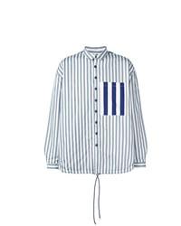 Мужская голубая куртка-рубашка в вертикальную полоску от Sunnei