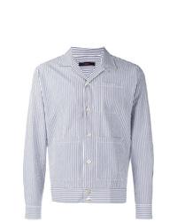 Мужская голубая куртка-рубашка в вертикальную полоску от The Gigi