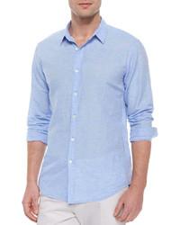 Голубая льняная рубашка с длинным рукавом