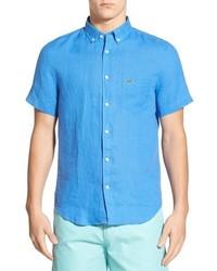 Голубая льняная рубашка с коротким рукавом