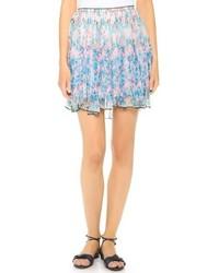 Голубая мини-юбка с цветочным принтом от Nina Ricci
