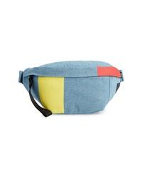 Голубая поясная сумка из плотной ткани