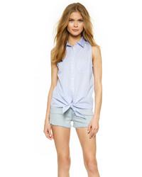 Женская голубая рубашка без рукавов от Equipment