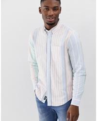 Мужская голубая рубашка с длинным рукавом в вертикальную полоску от Abercrombie & Fitch