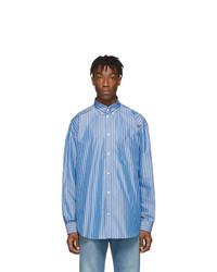 Мужская голубая рубашка с длинным рукавом в вертикальную полоску от Balenciaga