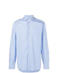 Мужская голубая рубашка с длинным рукавом в вертикальную полоску от Borriello