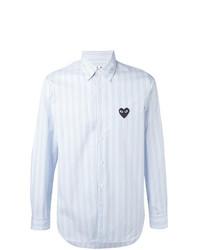 Мужская голубая рубашка с длинным рукавом в вертикальную полоску от Comme Des Garcons Play