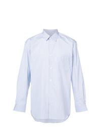 Мужская голубая рубашка с длинным рукавом в вертикальную полоску от Comme Des Garcons SHIRT