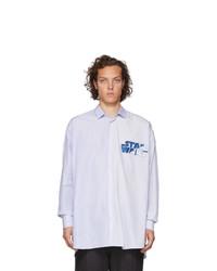 Мужская голубая рубашка с длинным рукавом в вертикальную полоску от Etro