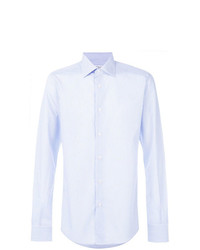 Мужская голубая рубашка с длинным рукавом в вертикальную полоску от Fashion Clinic Timeless